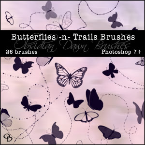 Free Photoshop Brushes From Stephanie - Butterflies & Trails
