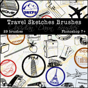 Obsidian Dawn Photoshop Brushes - Travel Sketches Brushes