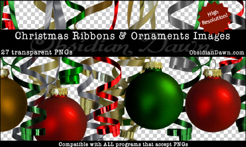 Christmas Ribbons And Christmas Ornaments Transparent PNGs