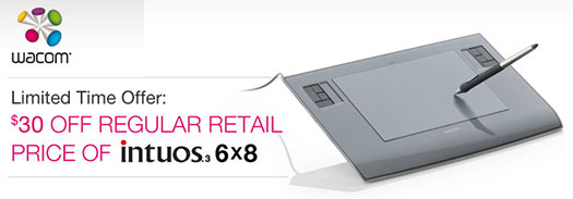 Wacom Intuos Tablet Special $30 Rebate Special Offer