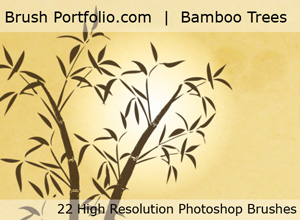 Bamboo Trees And Water Color Flowers - Free Photoshop Brushes