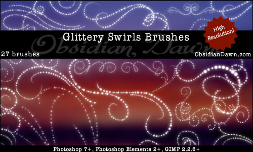 Glittery Swirls Photoshop Brushes From Obsidian Dawn Want Free Photoshop