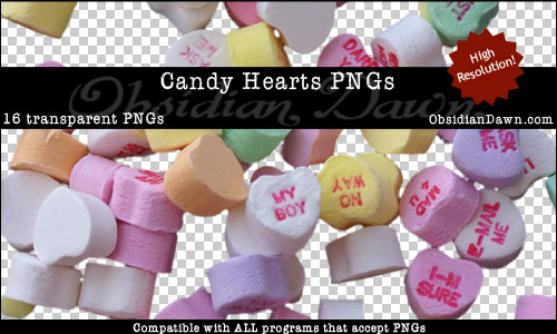 Candy Hearts - Transparent PNGs For Photoshop Use