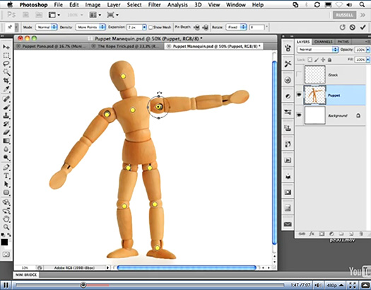 Puppet Warp - Photoshop CS5 Puppet Warp Tool Video
