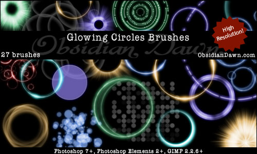 Free Glowing Circles Photoshop Brushes From Obsidian Dawn
