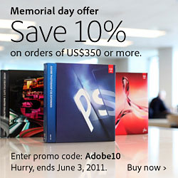 10% Off All Orders Of $350 USD Or More In The Adobe North America And Eduction Stores - Use Coupon Code Adobe10