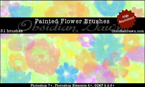 Painted Flowers - Free Photoshop Brushes