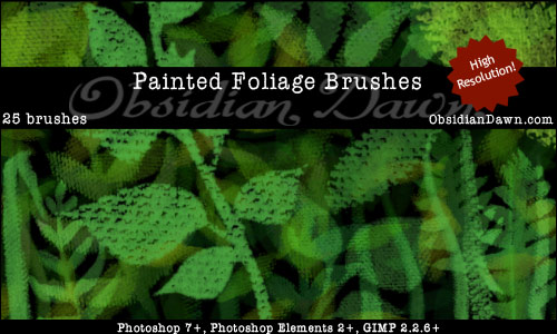 Painted Foliage - Free Photoshop Brushes