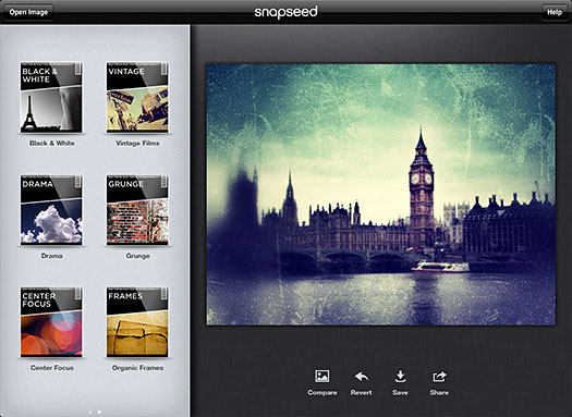Snapseed Photo App From Nik Software - Image Editing On The iPad With Photo Enhancing Filters And Tools