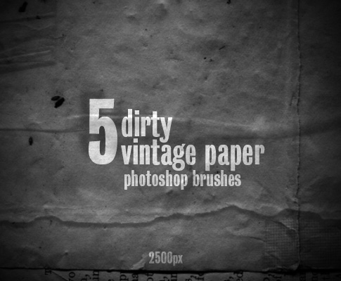 5 Free Vintage Dirty Paper Photoshop Brushes