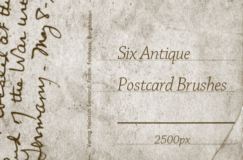 Six Free Antique Postcard Photoshop Brushes