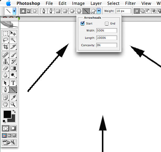 Drawing Lines With Photo Cs : How to create quick arrows in photoshop photoshopsupport