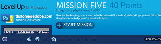 LevelUp for Photoshop is a game of missions that help you learn basic Adobe Photoshop skills