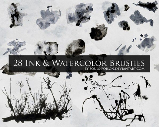 Ink And Watercolor Brush Set - 28 Free Brushes