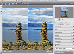 The software creates HDR images from a series of photographs taken at different exposures or from a single image