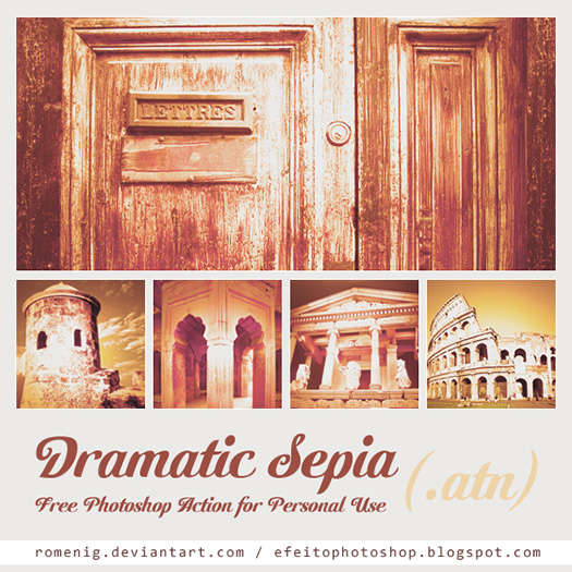 Download this free Dramatic Sepia Photoshop Action and have fun with the effects