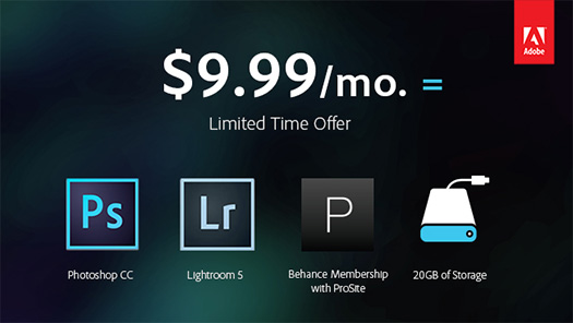 Get Photoshop and Lightroom and Extras for 9.99 a Month